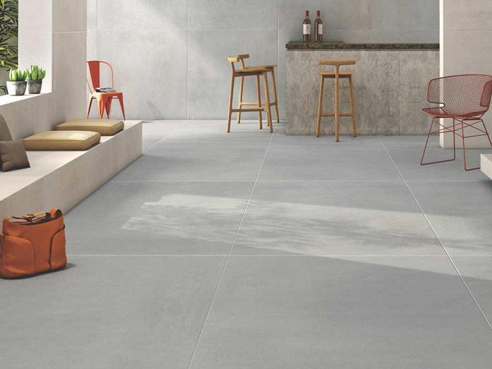 Tile concrete floor